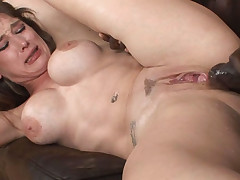 This brunette gets her pussy set on fire by a big black cock