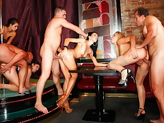 Crazy no holes barred orgy with a group of horny nymphos.