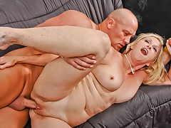 Horny GILF is fucked by younger man and swallows everything