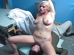 Dirty girl indulges her doc's fetishes and sits on his face