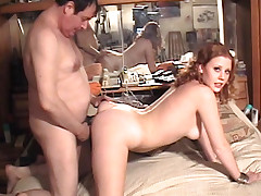 Cute redhead with natural tits sucks, fucks and has paid sex