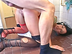 Sexy, horny sluts get ass fucked hard on the bathroom floor!