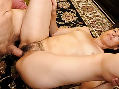 Hot brunette MILF gets her hairy cunt pounded hard !