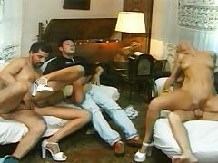 Blonde and brunette having sex with 3 dudes in this video