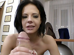 Dark hair slut deep throats and gets ass fucked POV style!