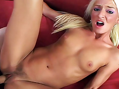 Blonde college girl gets big daddy to cum on her hairy pussy