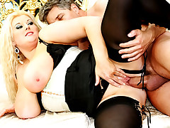 MILF hot ass tames hard cock and squeezes it in her fat tits