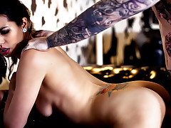 Tattooed bombshell sucks and fucks hard wet cock like a pro!