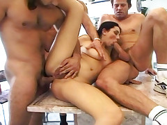Naughty gal gets roughed up in hardcore gangbang with 4 guys