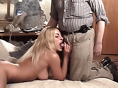 Hot all natural blonde Julie Ryan sucks a fat ugly old man