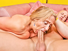 Candy's old pussy takes a beating from a younger mans cock