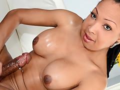 Super horny tranny chick masturbates her hot fat hard cock !