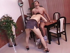 Horny redhead get her pussy and ass fucked hard at work