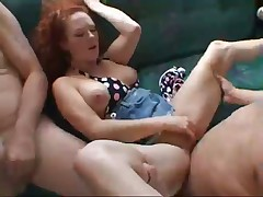 Hot Redhead Fucks Two Guys In Moving Van