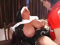 British slut Vicki fucks kinky parishioner in nun unifor