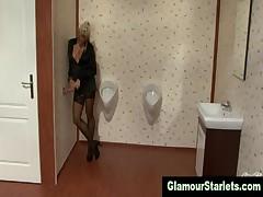 Classy stockings european blonde