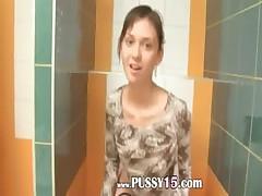 Amazingly skinny proana coed on toilet