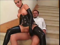 Latex Covered Housewife Fucks Her Man