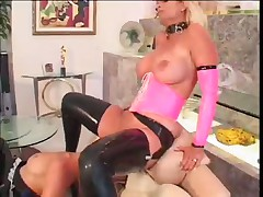 Three Sexy Housewives In Latex Get Off