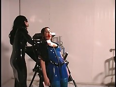 Mistress Jean Ties Up Latex Slaves