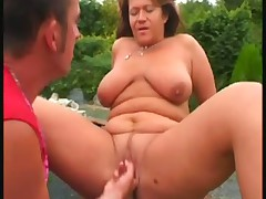Great titted mature outdoor fuck
