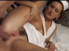 Brunette nurse get cum on face