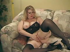 Blonde mature fuck on couch