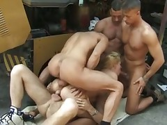Outdoor gangbang with hot blonde