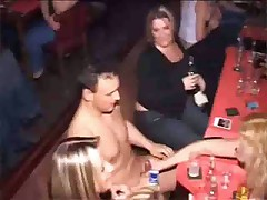 Stupid girls sucking cocks at hen party