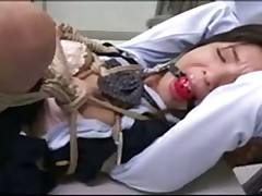 Japanese BDSM play in office
