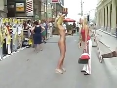Sexy blonde flashing in public