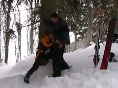 French blondes fucked in the snow