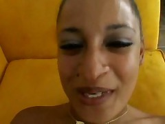Naughty ebony babe receives cum