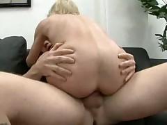 Skinny granny takes two cock