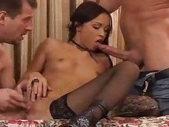 Alexa May with two men