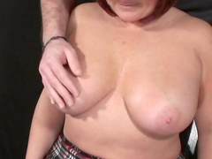Chubby babe Stephanie gets some cum on her face