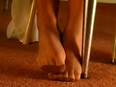 Two chicks in pantyhose foot fetish video
