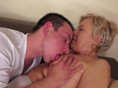 Granny blonde Ursula Grande is giving a blowjob