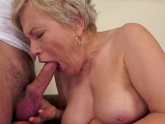 Granny blonde Ursula Grande is giving a blowjob