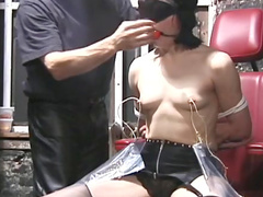 Nipple torture and ball gag play
