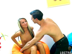 Dusan is cumming over Jitka's face