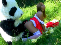 Funny outdoor doggy style sex with teen Madelyn