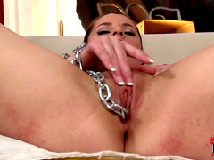 Hot nasty beauty Angie is masturbating her pussy