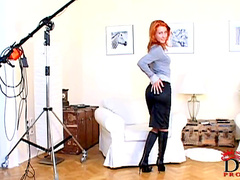 Redhead fox Nataly shows off her tasty vagina