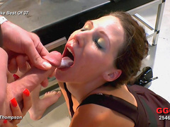 Pretty babe with wide mouth gets cumshots in her mouth