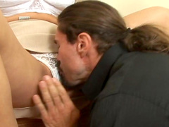 Awesome brunette being fucked by venous dick