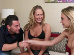 Lucky stud gets two hotties to fuck