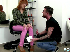 Redhead gives a blowjob and takes a dildo in her ass