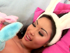 Slender Asian babe Danika is a horny rabbit