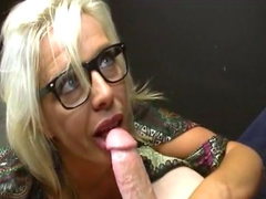 Skillful blonde gets cum on her glasses